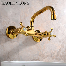 Wall Mounted Bathroom Faucets Chrome Brass Spout Vanity Sink Mixer Basin Faucet Tap modern design antique brass open spout basin faucets fashion bathroom mixer vintage bathroom sink faucet