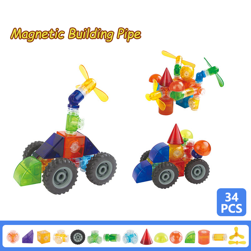 34PCS Magnetic Building Pipe Magnet Block Construction Educational Plastic Bricks Assembly Blocks Set Enlighten Toy for Kid Gift 62pcs set magnetic building block 3d blocks diy kids toys educational model building kits magnetic bricks toy