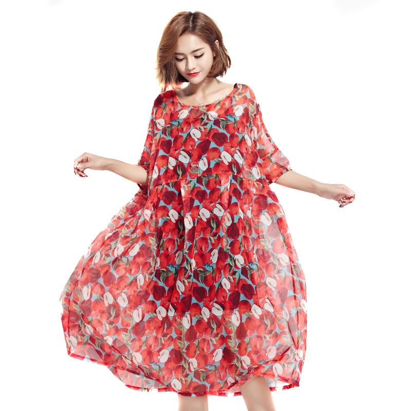 BelineRosa 2017 Plus Size ქალის კაბა Beach Bohemian Style Red Apple ბეჭდვა 2 PCS კაბები დიდი ზომის ქალები ქალი TYW00332