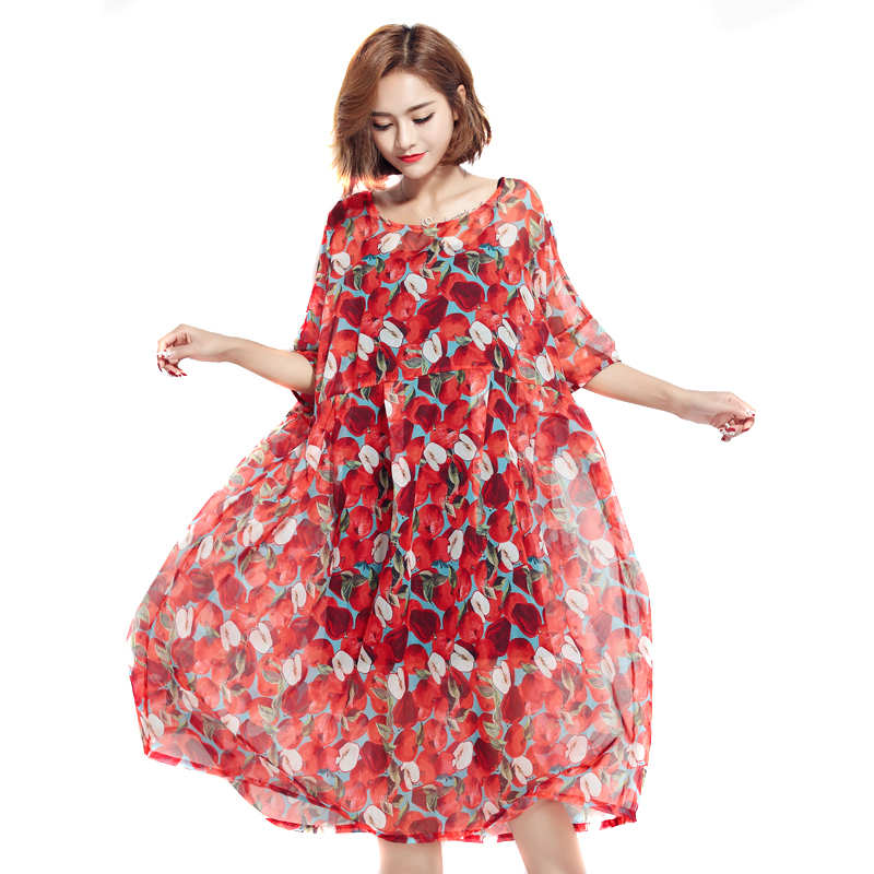BelineRosa 2017 Plus Size Vrouwen Strand Jurk Bohemian Stijl Rode Apple Printing 2 STKS Jurken Grote Maten Vrouwen Vrouwelijke TYW00332