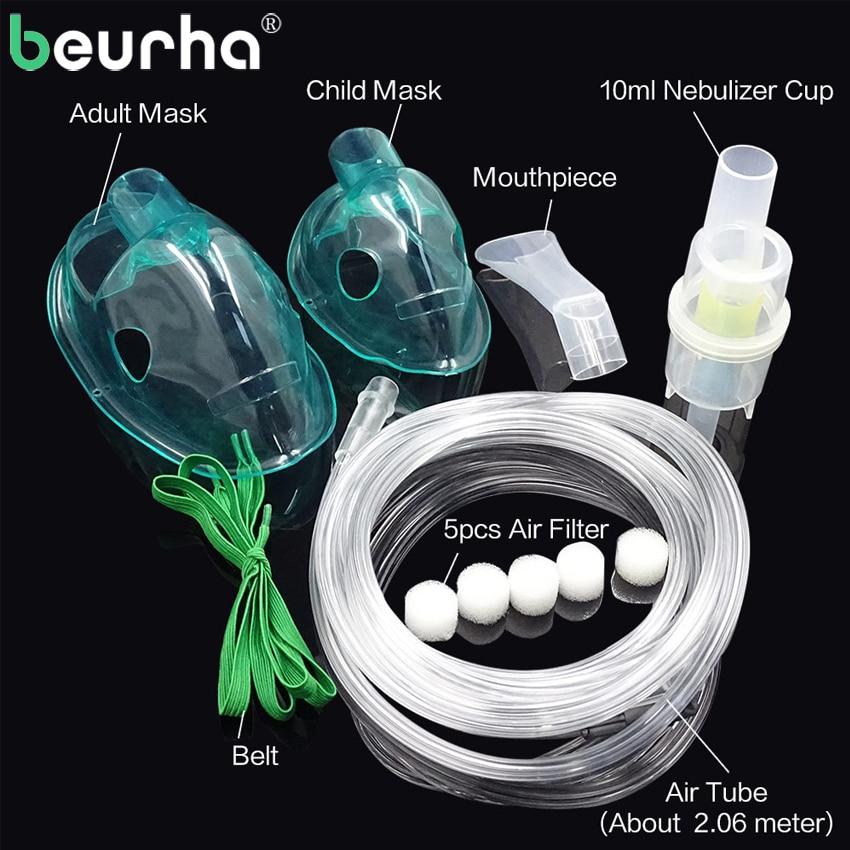 Beurha Family Medicine Household Compressor Inhale Nebulizer Cup Mouthpieces for Child Adult Mask Inhaler Set Accessories