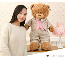 big size plush teddy bear toy new creative gray check suit bear doll gift about 80cm