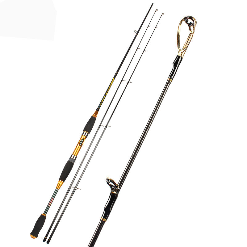 Golden Fishing Rod Carbon Spinning Fishing Rod 2.1M 2.4M fishing rod 2 section Lure Rod guide sougayilang 2 1m 2 section carbon fishing rod grips double tip lure rod spinning baitcasting fishing rod