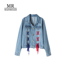 MAINROLES autumn New Fashion Cowboy Jacket Trend Lace Lace Lapel Long Sleeve Denim Leisure Patchwork Loose Short Jacket Female
