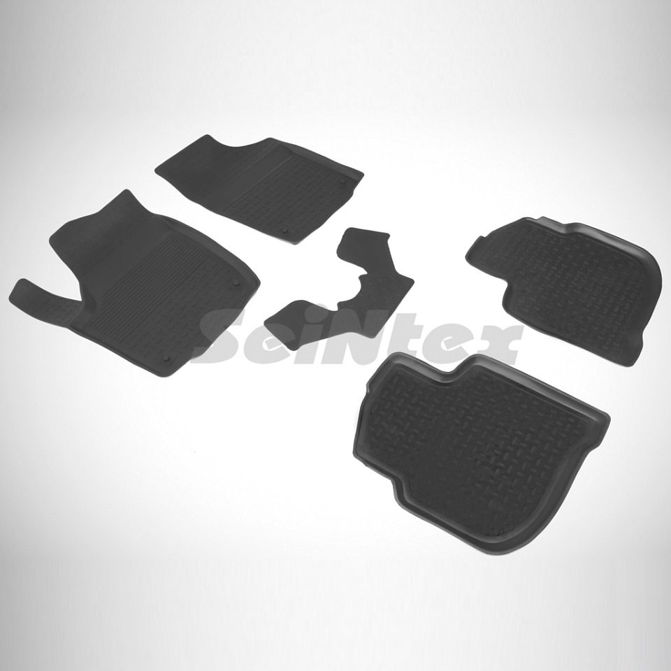 лучшая цена For Skoda Rapid 2012-2019 rubber floor mats into saloon 5 pcs/set Seintex 85626