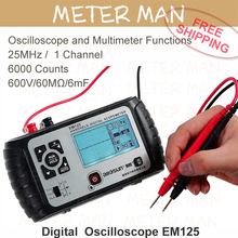 Все Вс 2 in1 Многофункциональный Преподавание инструмент Осциллограф 25 МГц Handheld Scopemeter Мультиметр Вольтметр Омметр Емкость EM125