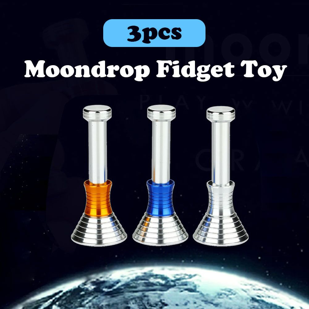 Enjoybay 3 Pcs MOONDROP Fidget Toys Displaying Gravity Moon Drops Metal Science Toys for Stress Relief Fidget Hand Spinner Toy