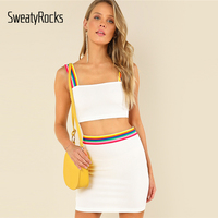 SweatyRocks White Active Wear Striped Tape Detail  ...