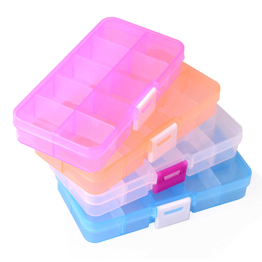 Adjustable Slots Plastic Jewelry Box Storage Case Craft Jewelry Organizer Beads Earrings Rings Gift Boxes Small Carton Packing