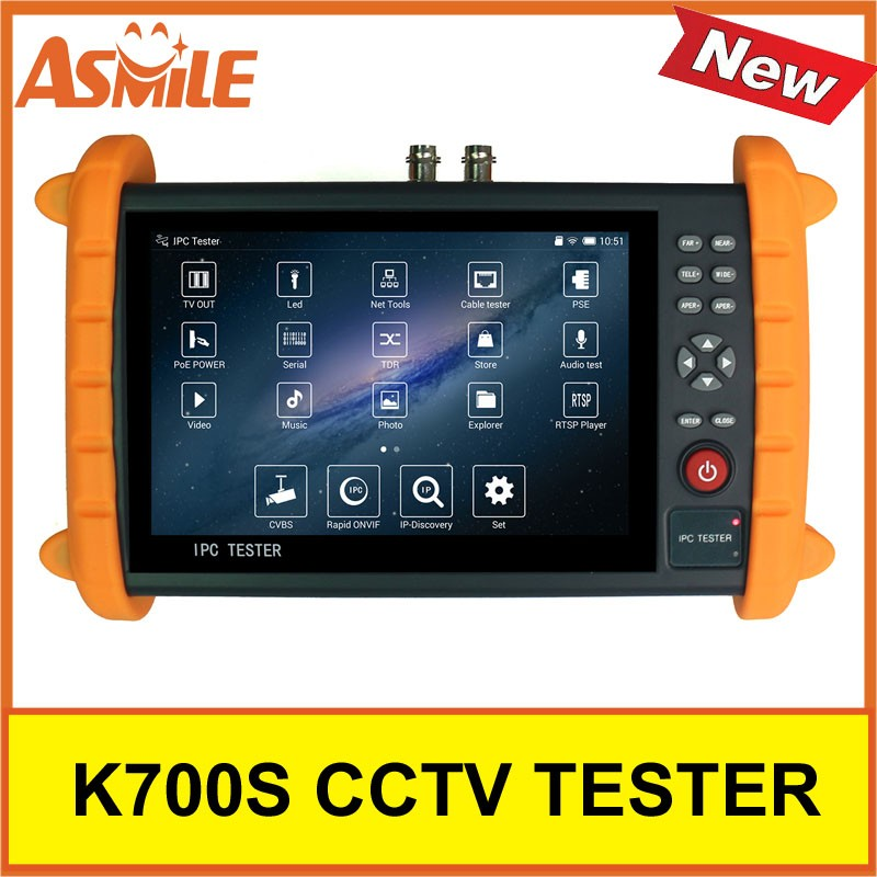 700S 7 inch Camera Tester Monitor for HD IP/Analog Cameras, 1080P, PTZ control,PoE 48V/24W DC12V/2A Power Out,Network Cable Test