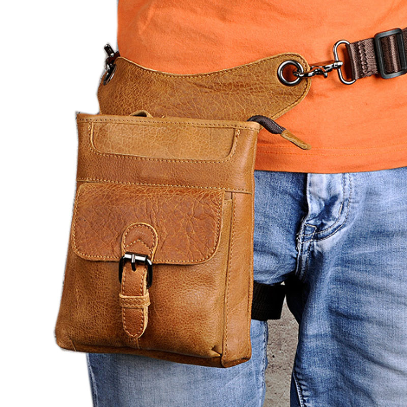 Men High Quality Oil wax Genuine Leather First layer Cowhide Vintage Riding Waist Leg Bag Travel Leisure Crossbody Pack New
