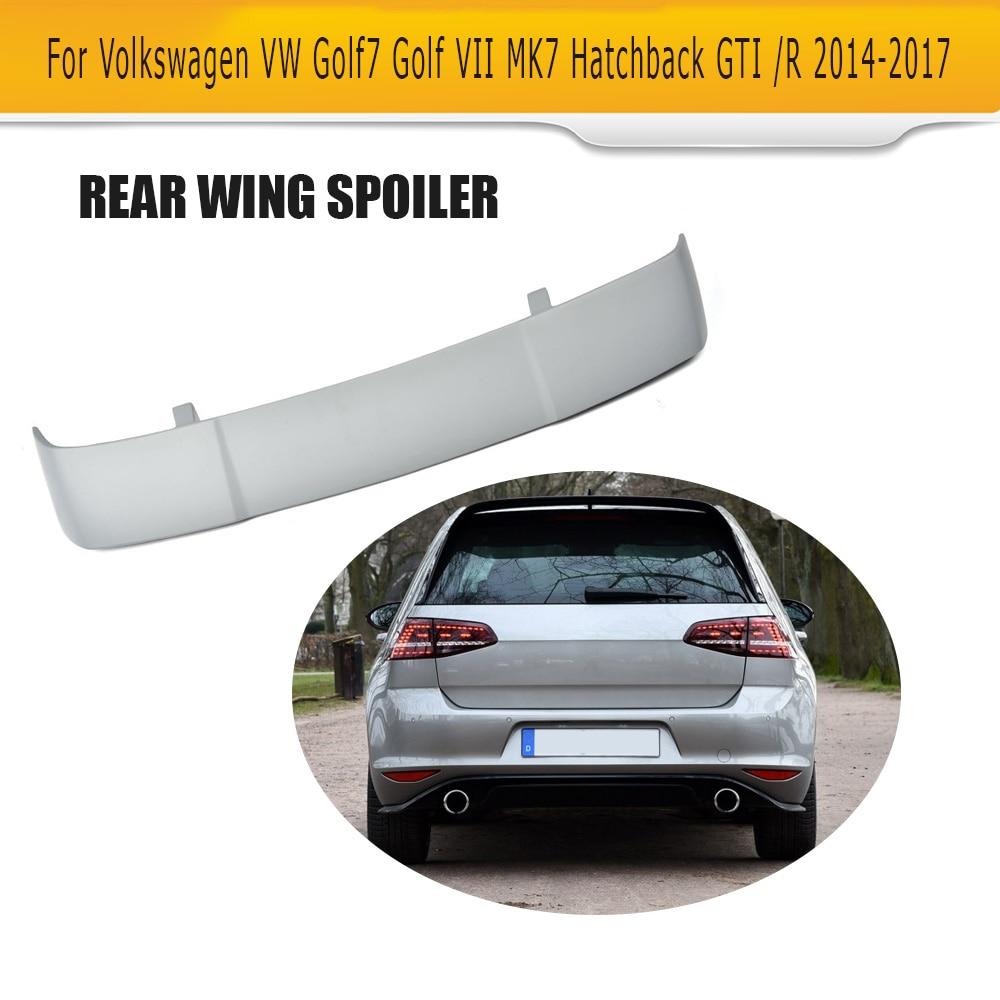FRP Rear Roof Wing Spoiler For Volkswagen VW Golf 7 MK7 VII GTI R Hatchback  2014 2017 Car Styling Unpainted Grey Primer