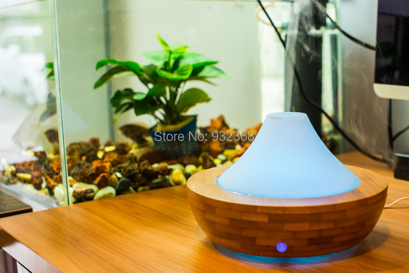 Aromatherapy Diffuser Ultrasonic Humidifier Nebulizer Essential Oil Glass Cover & Bamboo Bottom - Colour Wind Technology Co., LTD store
