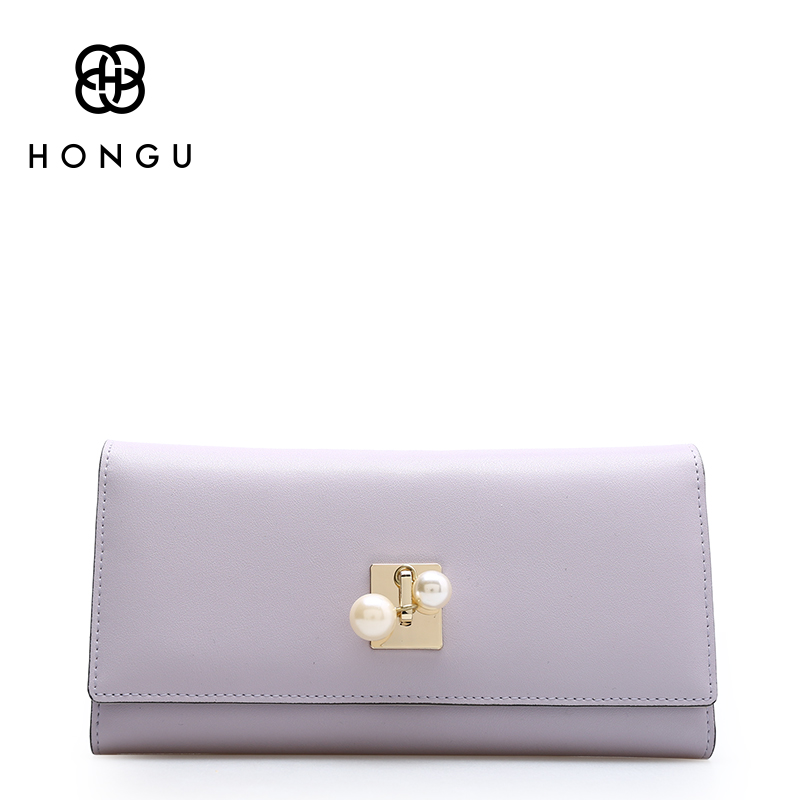 Hongu Women Genuine Leather Pearl Long Wallet Female Women Evening bag Famous Brand Ladies Long Clutches With Coin Purses Holder yuanyu 2018 new hot free shipping pearl fish skin long women clutches euramerican fashion leisure female clutches