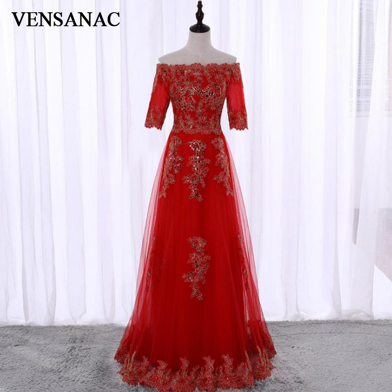 VENSANAC Vintage Boat Neck Lace Embroidery A Line Long   Evening     Dresses   2018 Half Sleeve Sequined Party Prom Gowns