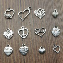 Small Heart Charm Pendant Antique Silver Tiny Heart Charm Pendants Jewelry Heart Charm(China)
