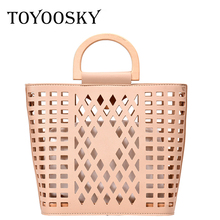 TOYOOSKY Women Bags Handbags 2019 Famous Brands Hollow Out Beach Bag Wood Handle Tote PU Leather Shoulder Purses