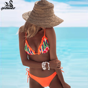 top beach wear ladies bikinis sexy maillot halter swimming suit for women swimsuit with ruffles printed swimwear strapless 2019
