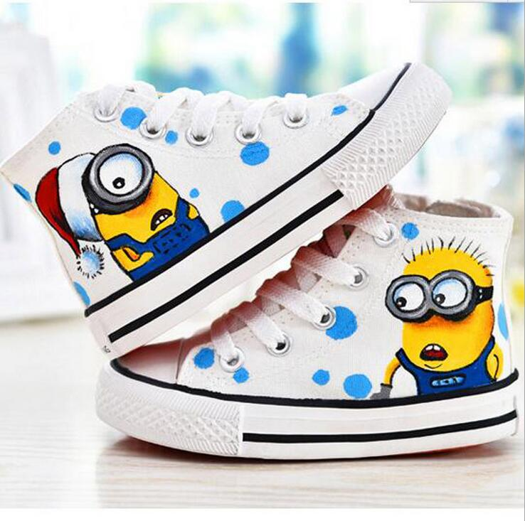 Hot sales Despicable Me Graffiti Casual Shoes Cartoon Character Couple Shoe Cute Minion Canvas Shoes