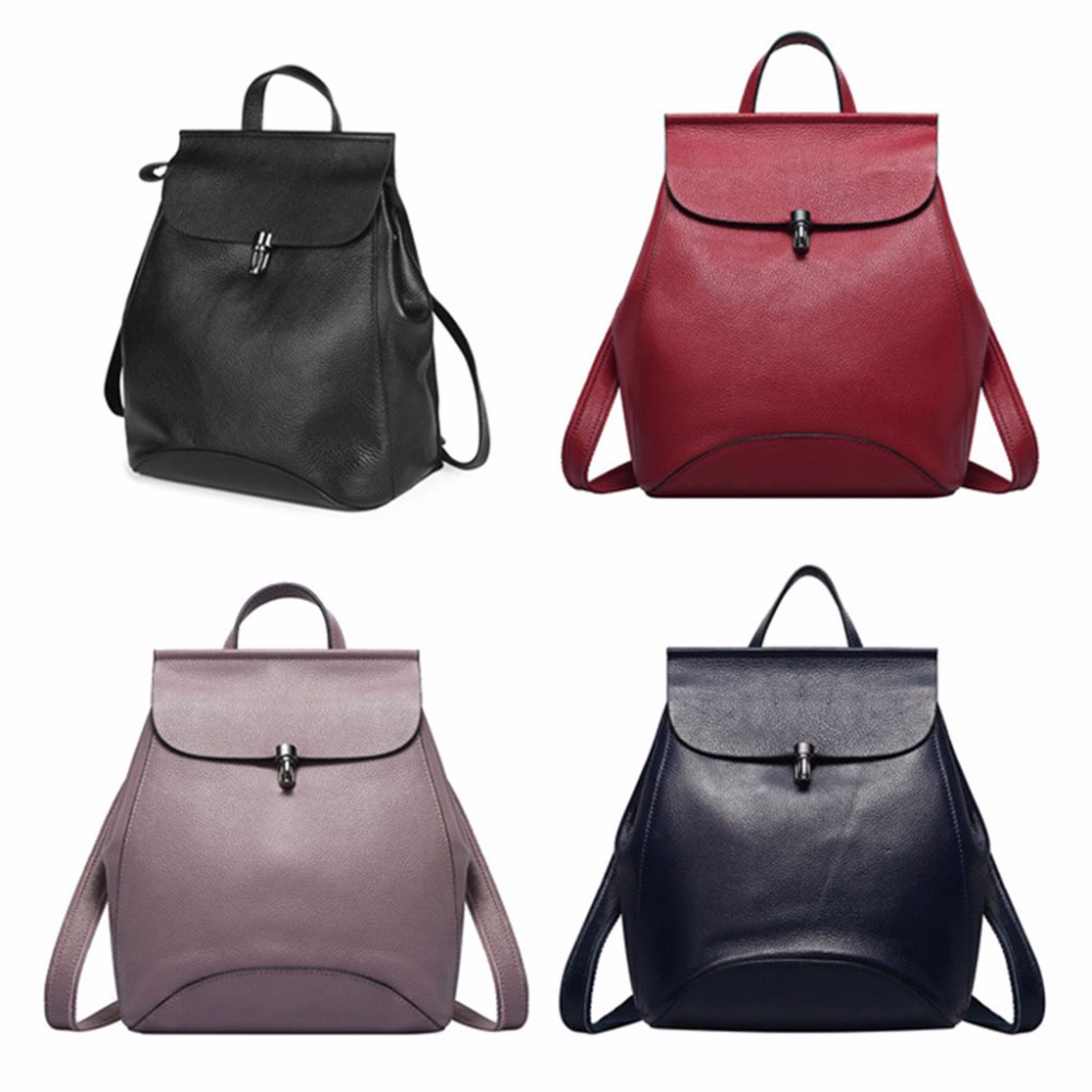 Women Genuine Leather Backpack Travel Small Backpacks Shoulder School Bag Satchel Rucksack Tote 2018 new