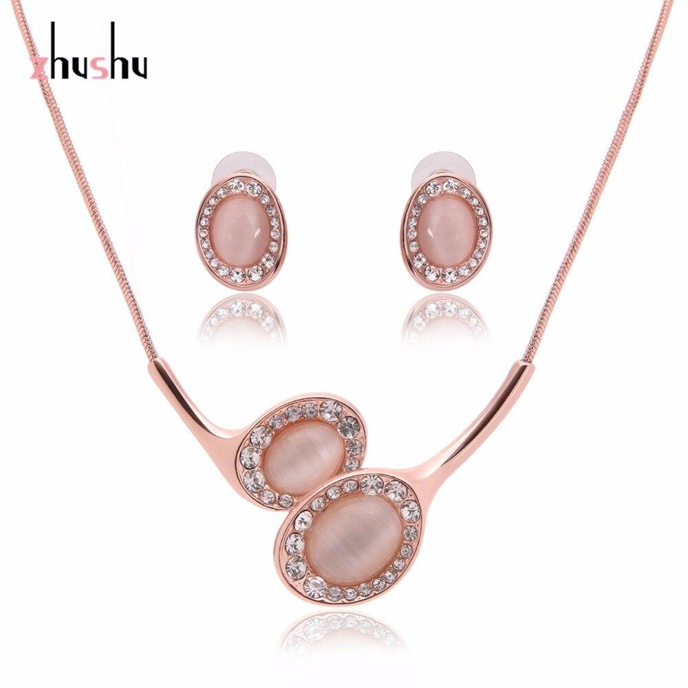 Brand Design Cute Opal Jewelry Sets Pendant Necklaces Earrings For Women  Wedding Crystal Jewelry Parure Bijoux
