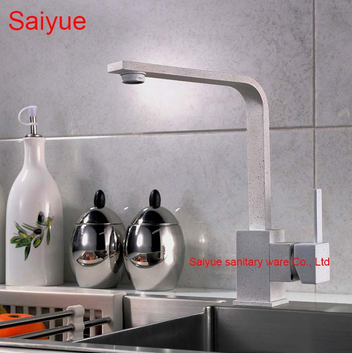 New Gray Marble Stone Painting 360 Rotating Single Handle Deck Mounted Kitchen Cuisine Sink Faucet Hot and Cold Mixer Tap black pearl marble stone polished brass swivel kitchen sink faucet 360 degree rotating deck mounted cuisine mixer tap torneira