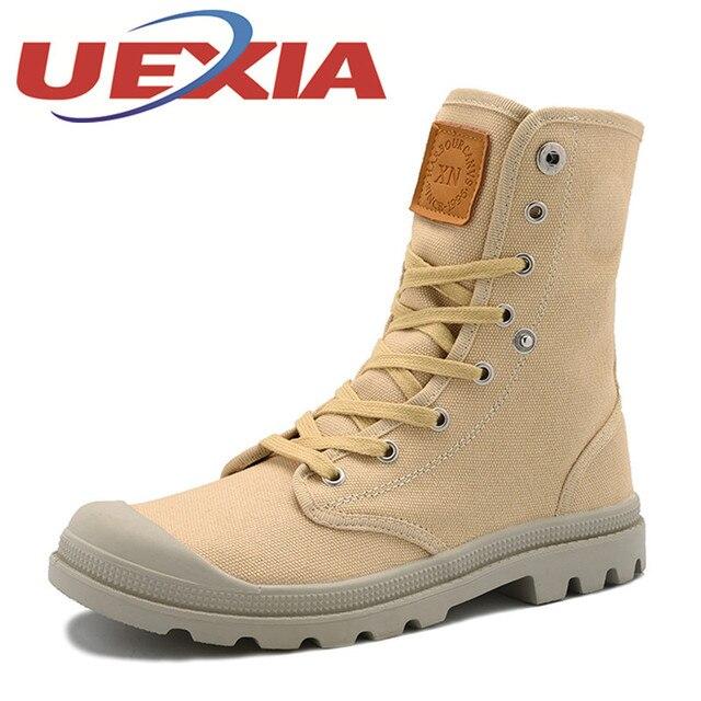 04b64e9ee8 Nueva lona Botas hombres transpirable casual Zapatos hombres felpa Botines  Otoño Invierno MNEs lona Tops botas