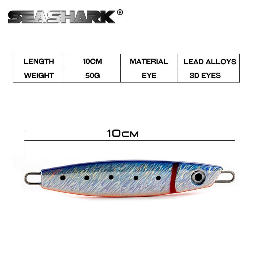 SEA SHARK 6Pcs/Lot 6 Color Metal Jigging Lure 10cm/3.93in 50g/1.76oz Sea Fishing Lure Casting Jig Lure Artificial Fish Tackle