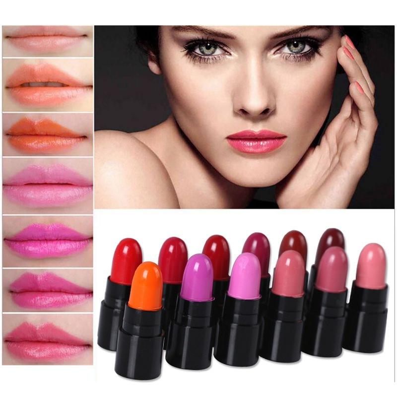 12Colors/Set Mini Cute 12 Colors Lipstick Waterproof Lip Color 1.2gx12 High Quality Lips Makeup 6027