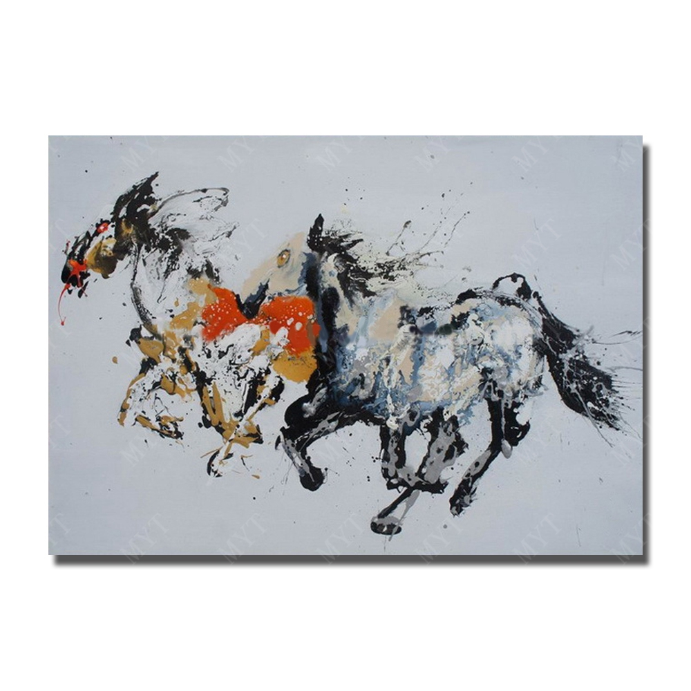 Big Canvas Art Modern Watercolor Abstract Ink Splash Big: Abstract Running Horse Hand Painted Oil Painting Modern