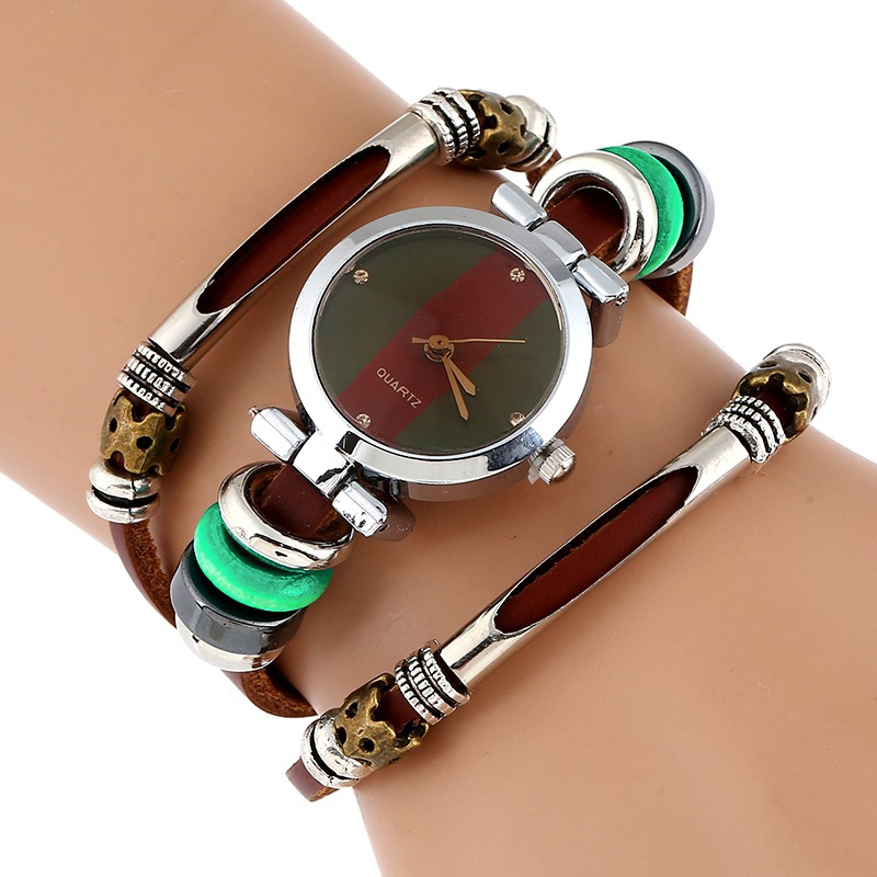 NEW Genuine Leather Watch Women Triple Bracelet Wristwatch Italian Style Green Coffe Stripes Fashion Reloj Para Dama