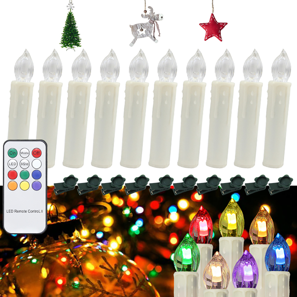 10pcs RGB Flameless LED Candle Light Christmas Birthday Wedding Party Home Decoration Remote Control