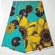 100% хлопок Африканский воск мягкая желтая ткань с принтом 6