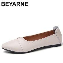 BEYARNE נעלי נשים מזדמנים עור אמיתי מוקסינים גבירותיי נהיגה בלט נעל אישה נשי מוקסינים דירות אמא FootwearE083