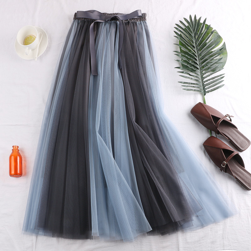 2019 Casual Pleated Maxi Skirt Long Women Mid-Calf Beach Skirts High Waist Mid Skirts Patchwork Bow Midiskirt Female Faldas