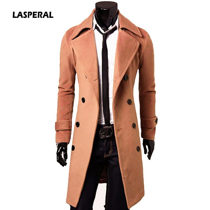 LASPERAL 2020 New Arrivals Autumn Winter Trench Coat Men Brand Clothing Cool Mens Long Coat Top Quality Cotton Male Overcoat 3XL