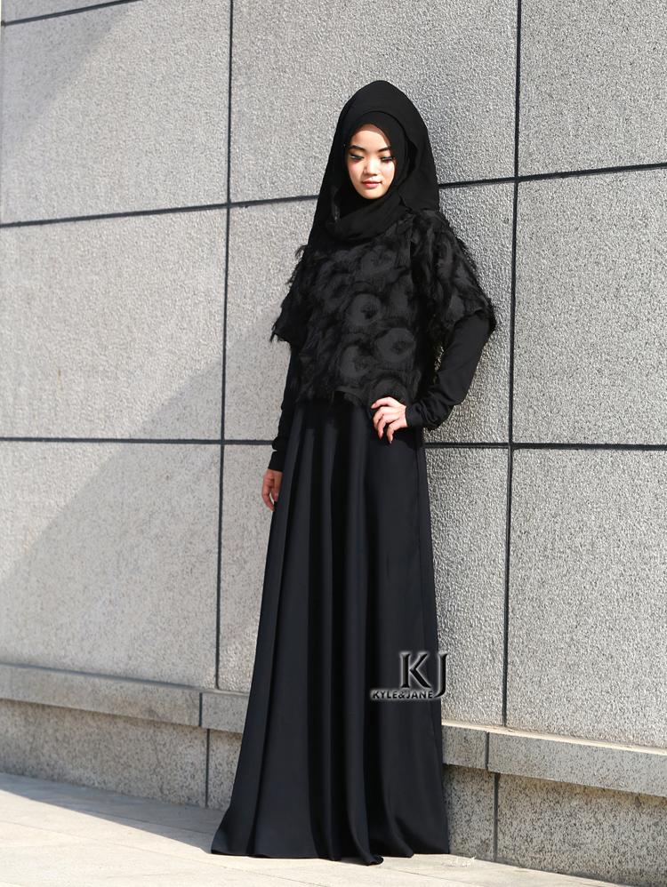 d3d62ce73f47 2016 Moda Abaya Muçulmano Dubai Vestuário Islâmico Para As Mulheres  Muçulmanas Abaya Jilbab Djellaba Musulmane Preto Abaya Vestido