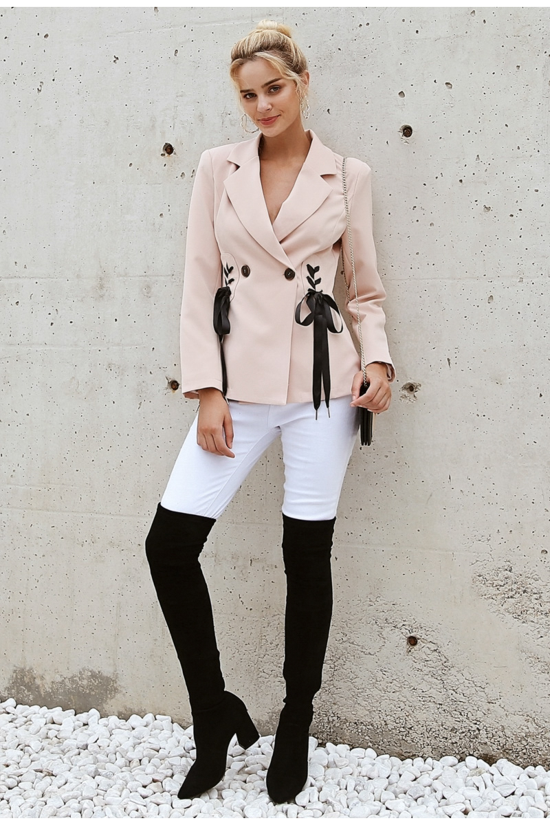 Simplee Autumn OL double breasted suit coat Elegant side tie up cool winter outwear V neck short coat office lady 2018 7