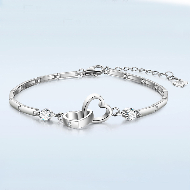 Cubic Zircon Double Heart Bracelet Bracelets Products under $30 Brand Name: Utimtree
