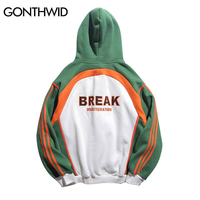 138d1af37e GONTHWID Color Block Patchwork Embroidery Fleece Hoodies Mens 2018 Winter Hip  Hop Casual Pullover Sweatshirts Fashion