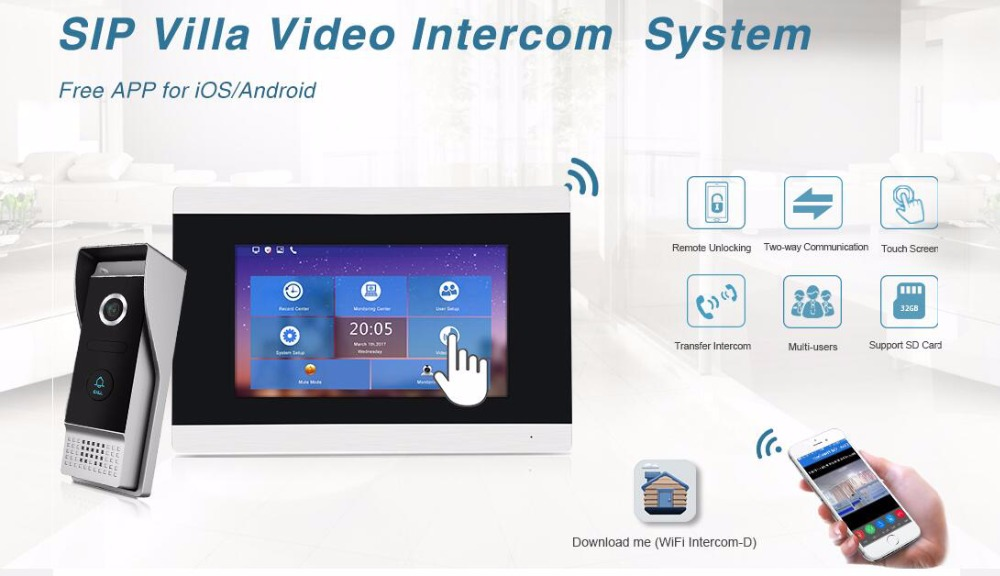 Video Intercom Türsprechstelle Freies Verschiffen 1.0mp Hd Wifi Ip Wohnung 7 touch Screen Video Intercom Tür Telefon Record Kit 3 Monitore Telefon Remote Monitor