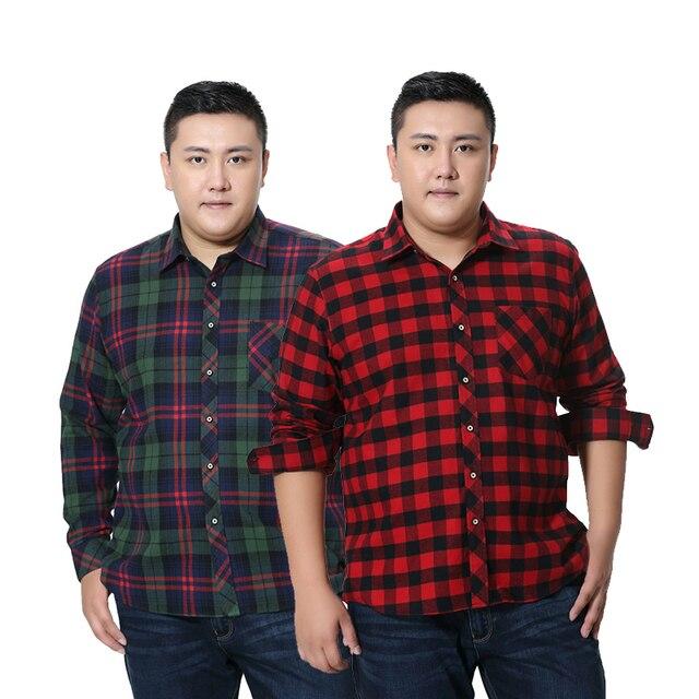 Fat Guy Plus ขนาด 5XL 6XL 7XL 8XL 100% ลายสก๊อตผ้าฝ้ายลายสก๊อตเสื้อผู้ชายแขนยาว Flannel สูงแฟชั่นคุณภาพ