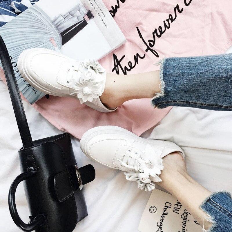 Otoño Casual Casuales Mujer Moda Simple Tridimensional Flor 2018 Zapatos Nueva Retro Plataforma Tendencia 1qdPW0A