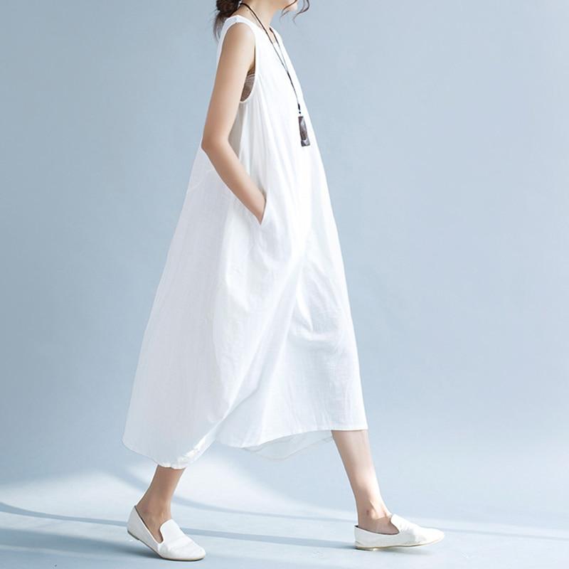 1d9952eafd Online Shop Casual White Long Summer Dress Women Korean Loose Cotton Linen  Boho Beach Maxi Dress Vintage Elegant Dresses Robe Femme Ete 2018