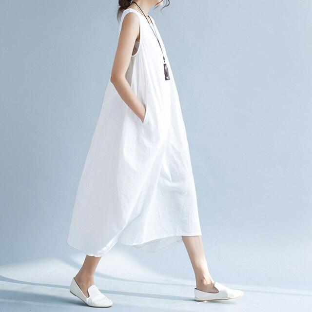 c7ce0c09bd Casual White Long Summer Dress Women Korean Loose Cotton Linen Boho Beach Maxi  Dress Vintage Elegant Dresses Robe Femme Ete 2018