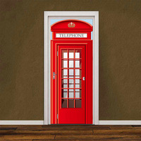 2pcs Waterproof London Telephone Box Stickers Imitation 3D Door Stickers DIY Self Adhesive Murals for Home Office
