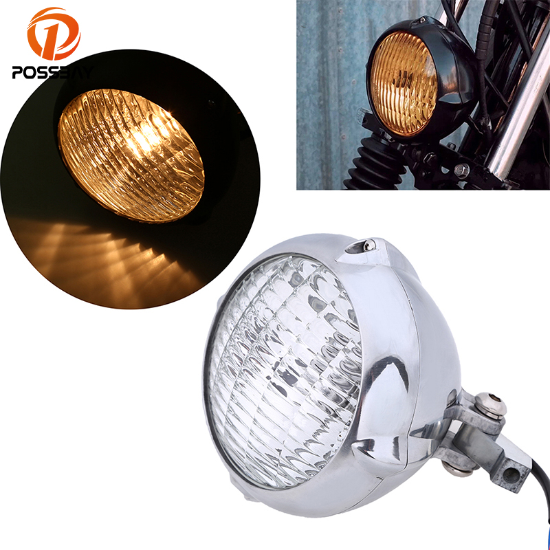 цена на POSSBAY 7 Aluminum Universal Motorcycle Headlight High Low Beam Amber Light For Harley Sportster XL 883 1200 Chopper Cafe Racer