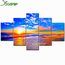 YOGOTOP DIY Diamond Painting Cross Stitch Kits Full Embroidery 5D Mosaic Sunset beach natural scenery 5pcs ML280