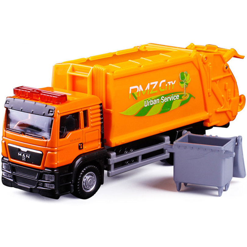 R 1:64 Garbage Truck Model Alloy Car Toy Sanitation Truck Garbage Bin Children's Favorite Toys Holiday Gift Toy Vehicles Kids image