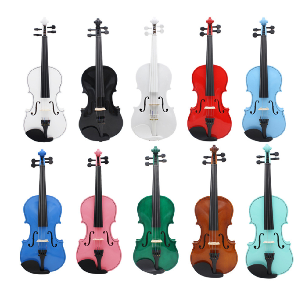 4/4 High Quality 10 Color Solid Wood Violin 4 Strings Light Beech Beginner Practice Popular Violin VL08